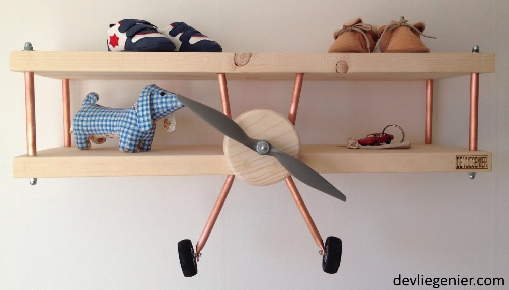 Vliegtuigwandplank de vliegenier for Zelf muurdecoratie maken