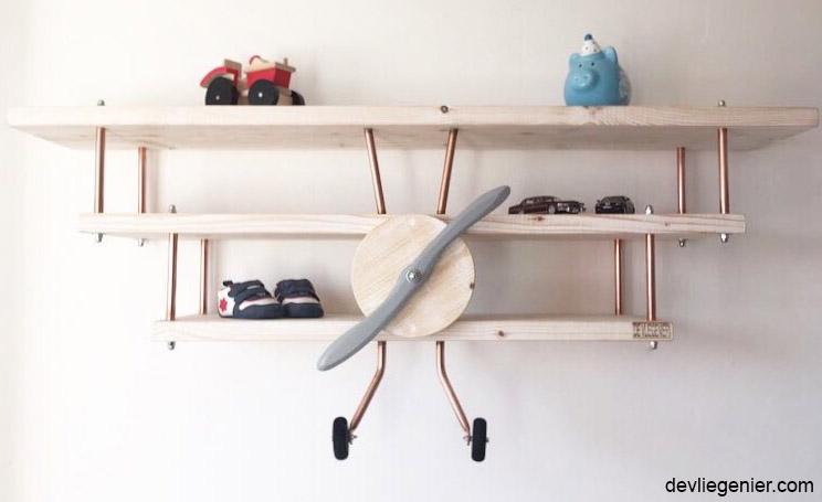 vliegtuigwandplank 3dubbeldekker whitewash - devliegenier.com